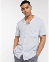 Голубая Рубашка С Короткими Рукавами И Отложным Воротником -синий Topman для него, цвет: Blue