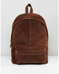 ASOS - Asos Backpack In Brown Suede for Men - Lyst