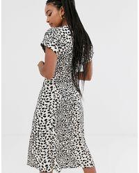 Vestito camicia midi bianco leopardato di Oasis in Black