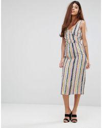 5673bbbc80 Lyst - Warehouse Dash Stripe Wrap Dress