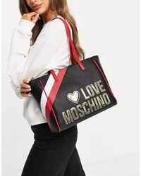 Черная Сумка-тоут С Большим Логотипом -черный Цвет Love Moschino, цвет: Black