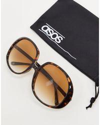 Occhiali da sole rotondi extra large anni '70 tartarugati di ASOS in Brown