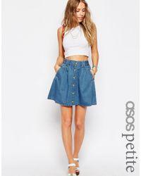 91bffae48f4c Lyst - ASOS Denim Button Front Mini Skater Skirt In Mid Wash Blue in ...