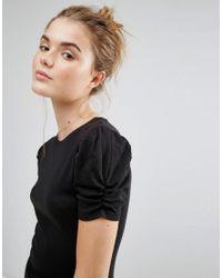 New Look Black Puff Sleeve T-shirt