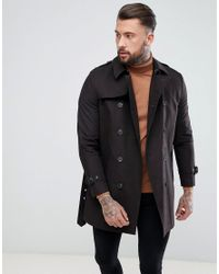 ASOS Shower Resistant Double Breasted Trench In Black for men