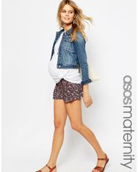 ASOS | Brown Ditsy Floral Pleat Front Short | Lyst