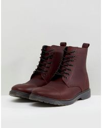 ASOS DESIGN Red Wide Fit Lace Up Boots In Burgundy Leather With Ribbed Sole for men