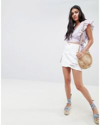 Glamorous - White Mini Skirt With Raw Hem And Distressing In Denim - Lyst