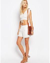 Vila White Embroidered Shorts