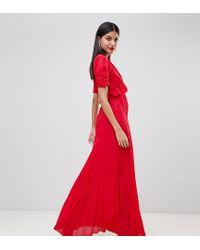 Vestito da giorno lungo a pieghe di ASOS in Red