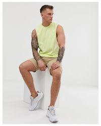 T-shirt décontracté sans manches en tissu biologique à emmanchures larges - Jaune pâle ASOS pour homme en coloris Green