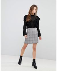 New Look Gray Checked Mini Skirt