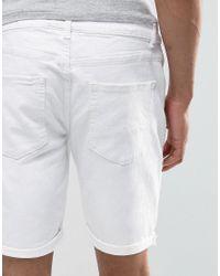 ASOS Denim Shorts In Skinny White for men