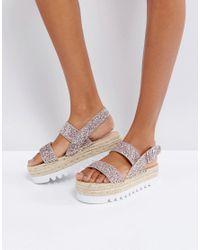 Bershka Metallic Glitter Espadrille Flatform Sandal