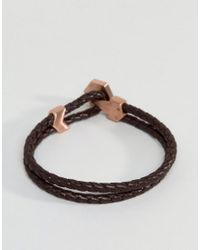 Fred Bennett Brown Leather Bracelet With Button Opening for men