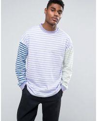 ASOS Blue Oversized Long Sleeve T-shirt With Pastel Panel Stripe for men