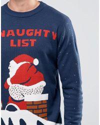 D-Struct Blue Naughty Santa Christmas Jumper for men