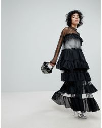 The Ragged Priest Black Label Tiered Mesh Dress With Thigh Split