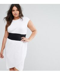 ASOS | White Corset Waist Detail Midi T-shirt Dress | Lyst