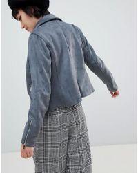 New Look - Blue Suedette Biker Jacket - Lyst