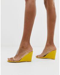 Sandali trasparenti con zeppa giallo acceso di Glamorous in Yellow