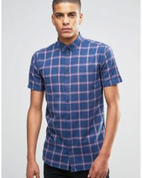 Minimum Blue Shirt With Navy Check Short Sleeves In Slim Fit for men