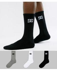 DC Shoes Multicolor 3pk Logo Socks In Multi for men