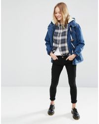 ASOS Blue Denim Duffle Coat With Borg