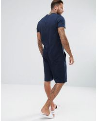 ASOS Blue Lightweight Bomber Neck Drop Crotch Short Onesie for men