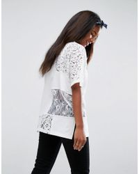 ASOS - White T-shirt In Oversized Fit With Cutabout Lace - Lyst