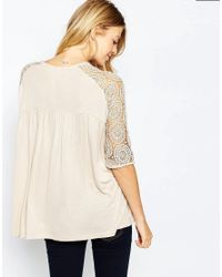 ASOS - Natural Maternity Smock Top With Lace Panel - Lyst