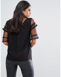 Vila Black Ruffle Sleeve Top