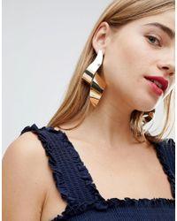New Look Metallic Abstract Twist Earrings