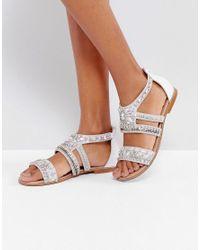 River Island Metallic Embellished Flat Sandals