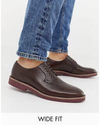 Коричневые Кожаные Туфли На Шнуровке Для Широкой Стопы ASOS для него, цвет: Brown