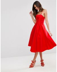 ASOS - Red Premium Extreme Fold Midi Prom Dress - Lyst