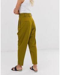 Pantalones estilo globo de sastre de vestir con talle alto ASOS de color Green