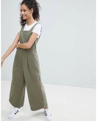 ASOS Green Denim Jumpsuit With Wide Leg In Khaki