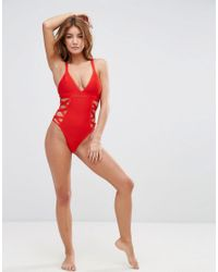 Missguided Red Lattice Side Swimsuit