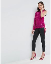 ASOS - Pink Asymmetric Top In Scatter Embellishment - Lyst