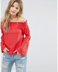 New Look Red Flute Sleeve Bardot Top