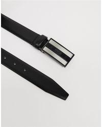 Черный Кожаный Ремень С Логотипом На Пряжке BOSS by Hugo Boss для него, цвет: Black