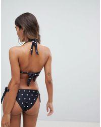 South Beach - Black Halter Bikini Set In Polka Dot - Lyst