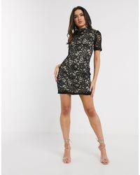 Girl In Mind Lace Mini Dress In Black