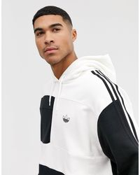 Adidas Originals White Hoodie With Asymetric Color Blocking for men