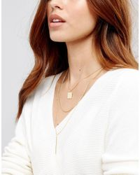 ASOS - Metallic Sleek Shapes Multirow Necklace - Lyst