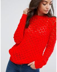 ASOS Red Jumper In Mesh Stitch