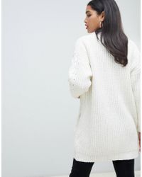 Cardigan in maglia a trecce color crema di Morgan in White