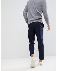 Farah - Blue Cropped Trousers In Wool Mix Slim Fit for Men - Lyst