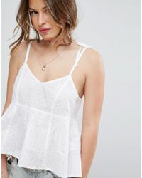 ASOS White Cotton Broderie Cami With Tie Shoulder